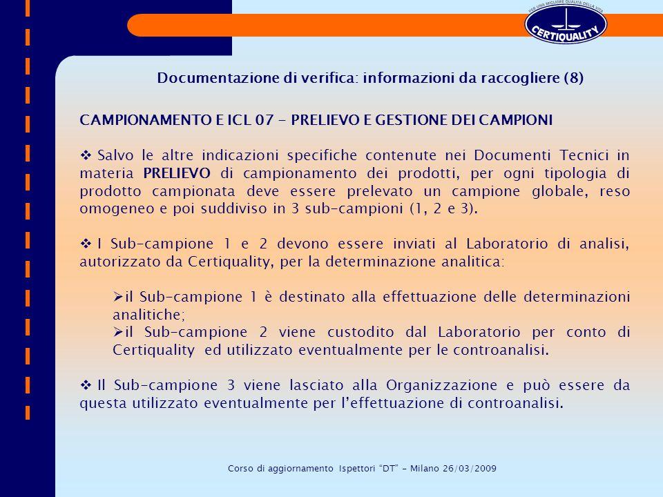 Documentazione di verifica: informazioni da raccogliere (8)
