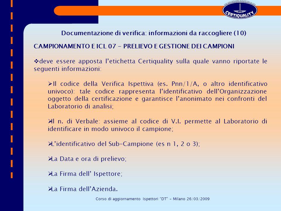 Documentazione di verifica: informazioni da raccogliere (10)