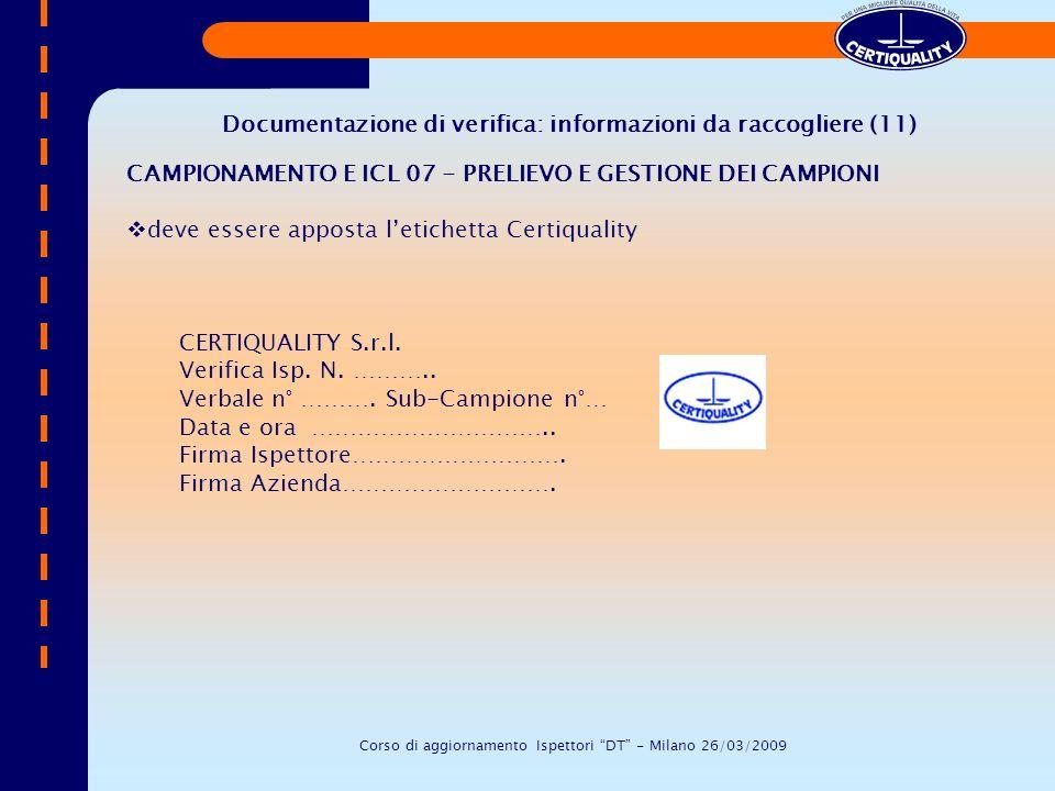 Documentazione di verifica: informazioni da raccogliere (11)