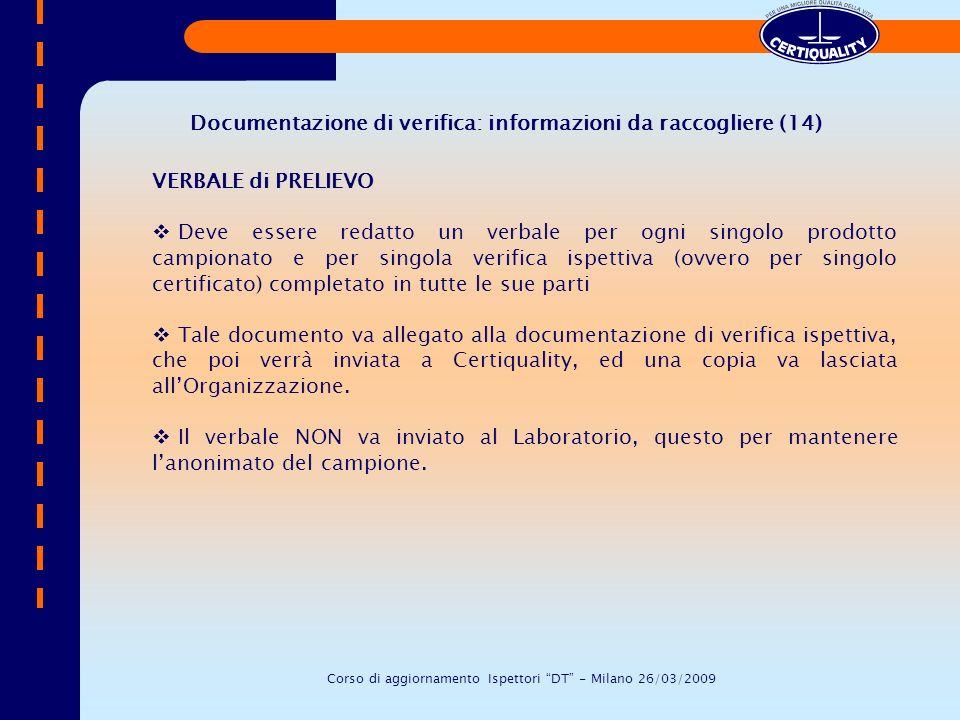 Documentazione di verifica: informazioni da raccogliere (14)
