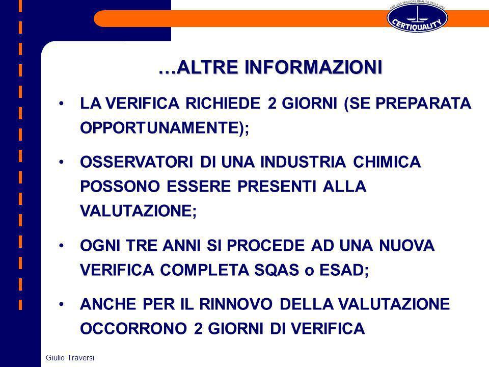 …ALTRE INFORMAZIONI LA VERIFICA RICHIEDE 2 GIORNI (SE PREPARATA OPPORTUNAMENTE);