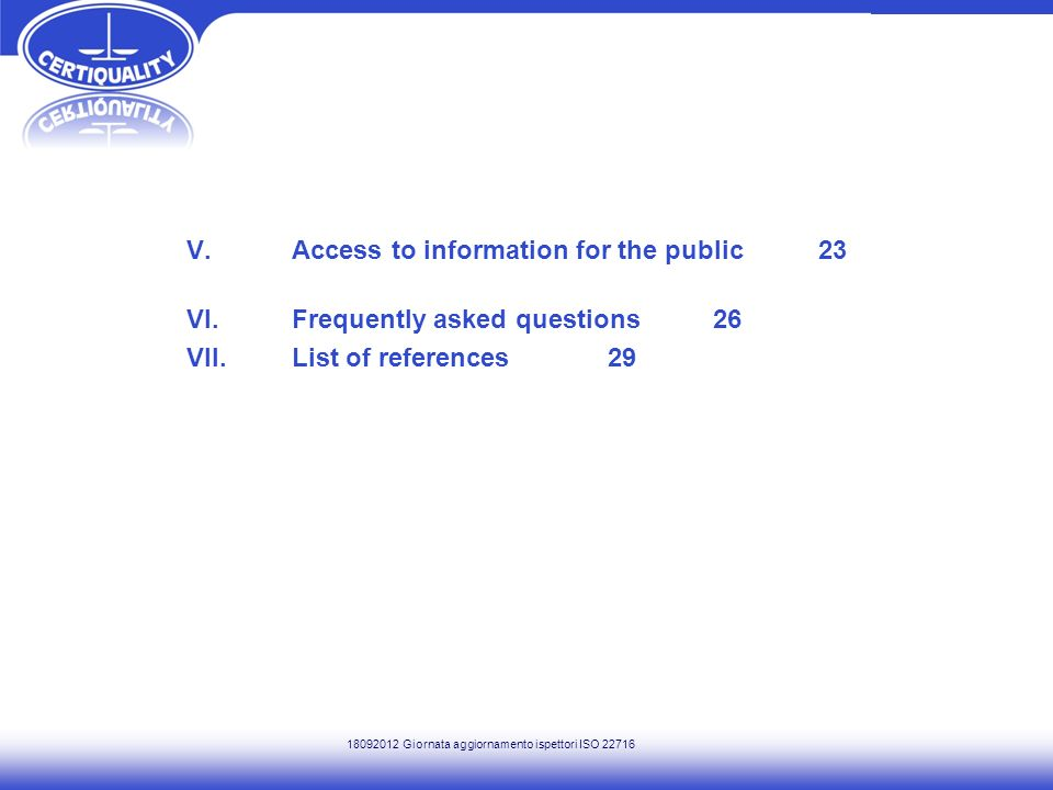 V. Access to information for the public 23