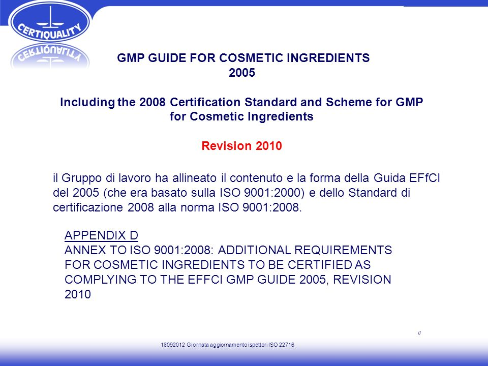 GMP GUIDE FOR COSMETIC INGREDIENTS