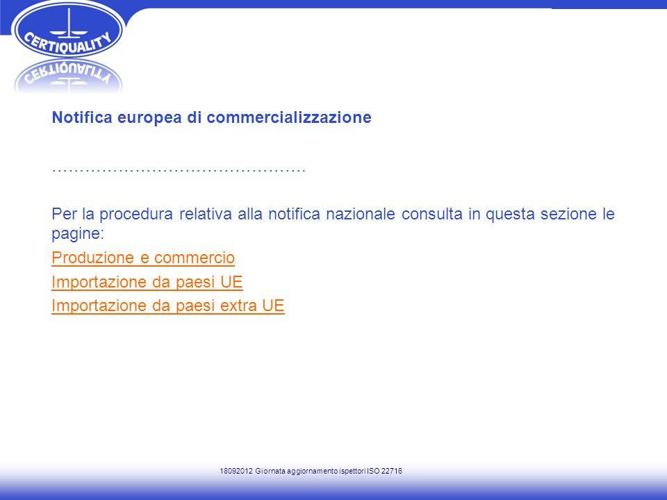 Notifica europea di commercializzazione ……………………………………….