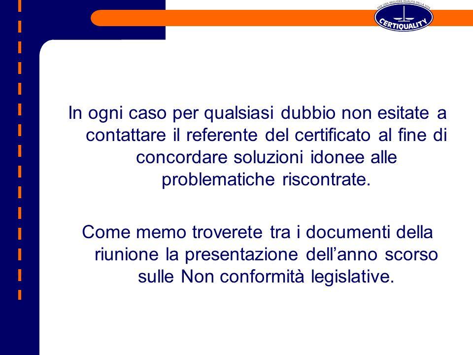In ogni caso per qualsiasi dubbio non esitate a contattare il referente del certificato al fine di concordare soluzioni idonee alle problematiche riscontrate.