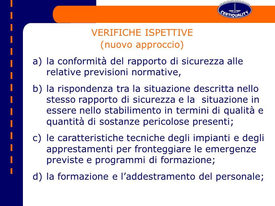 VERIFICHE ISPETTIVE (nuovo approccio) la conformità del rapporto di sicurezza alle relative previsioni normative,