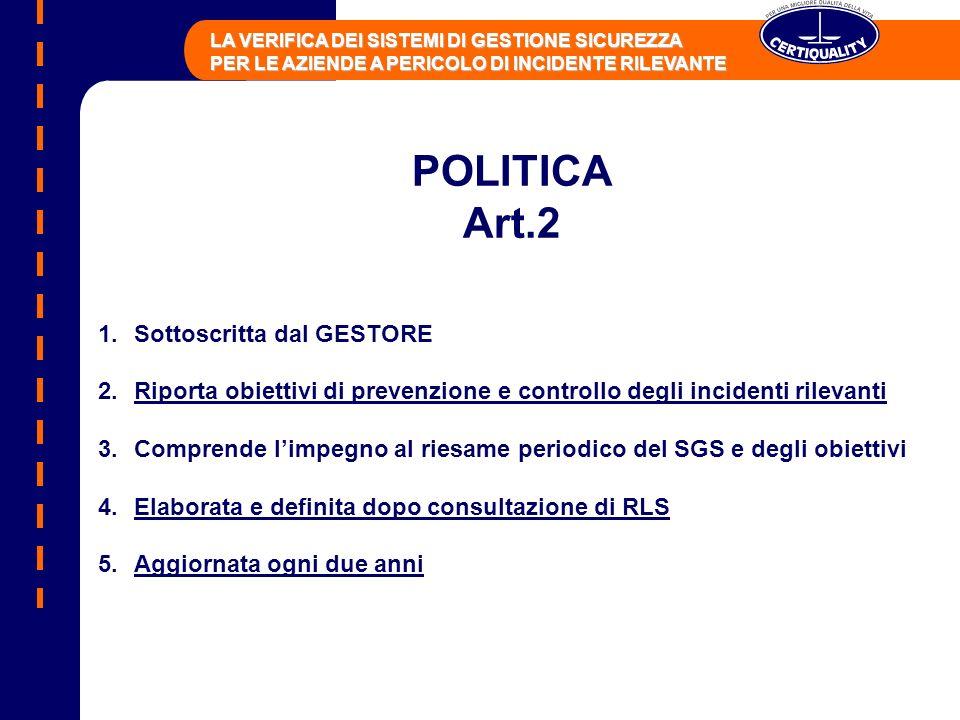 POLITICA Art.2 Sottoscritta dal GESTORE