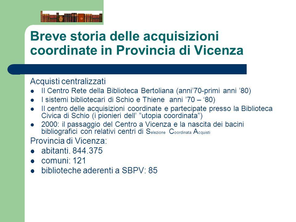 Breve storia delle acquisizioni coordinate in Provincia di Vicenza