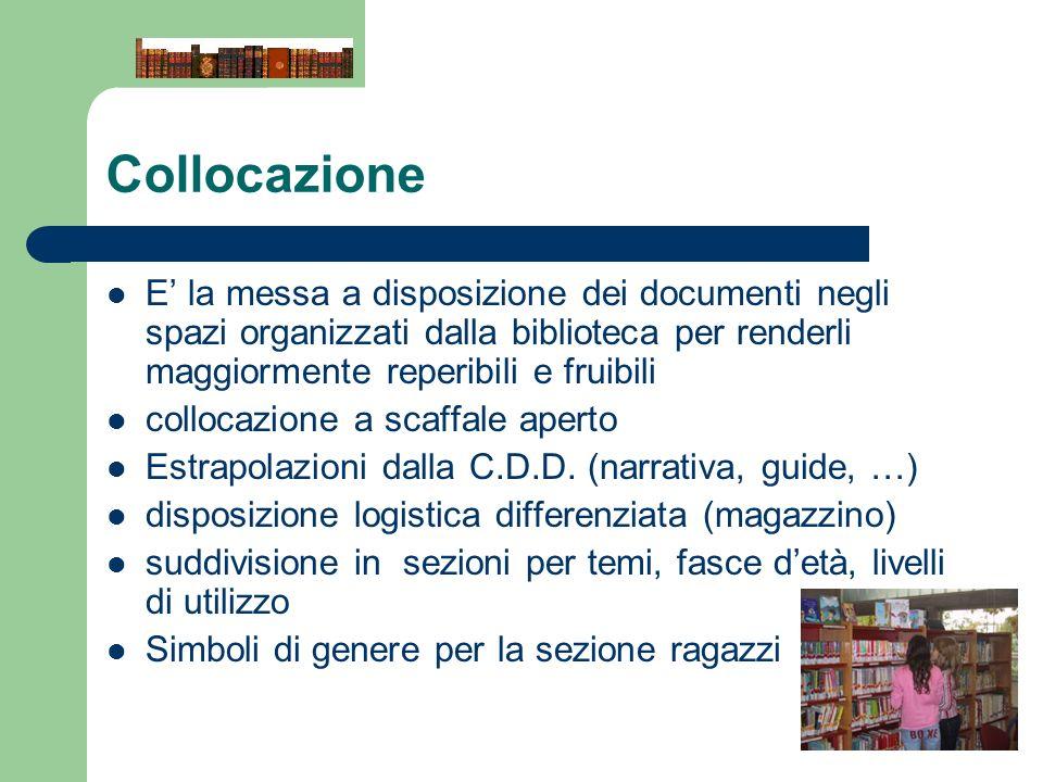 Collocazione E' la messa a disposizione dei documenti negli spazi organizzati dalla biblioteca per renderli maggiormente reperibili e fruibili.