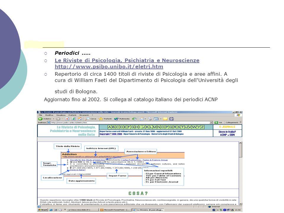 Periodici ..... Le Riviste di Psicologia, Psichiatria e Neuroscienze http://www.psibo.unibo.it/eletrj.htm.