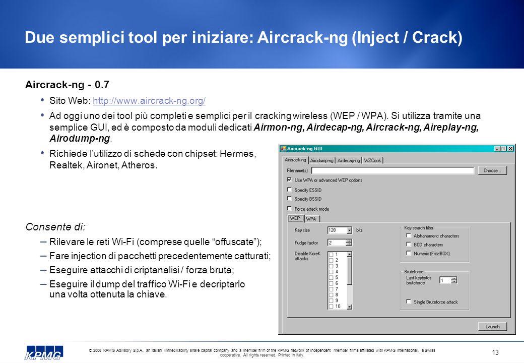 Due semplici tool per iniziare: Aircrack-ng (Inject / Crack)