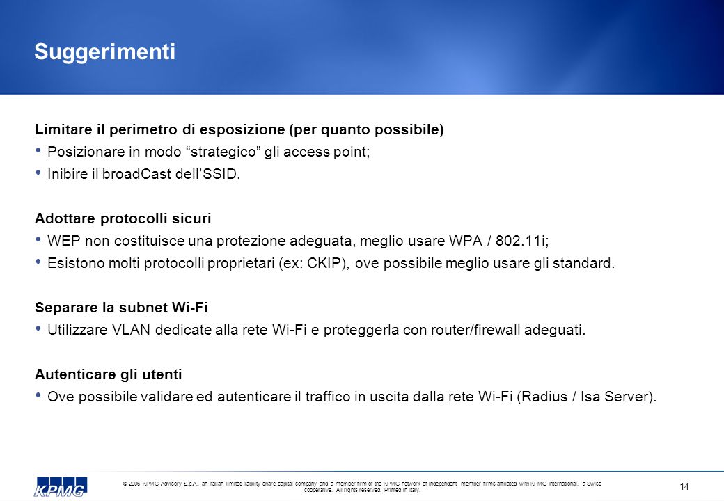 Suggerimenti Limitare il perimetro di esposizione (per quanto possibile) Posizionare in modo strategico gli access point;