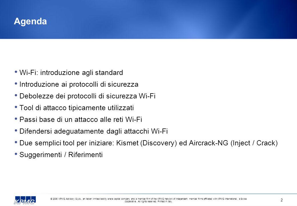 Agenda Wi-Fi: introduzione agli standard