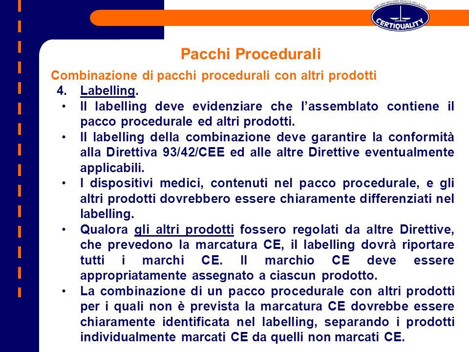 Pacchi Procedurali Combinazione di pacchi procedurali con altri prodotti. Labelling.