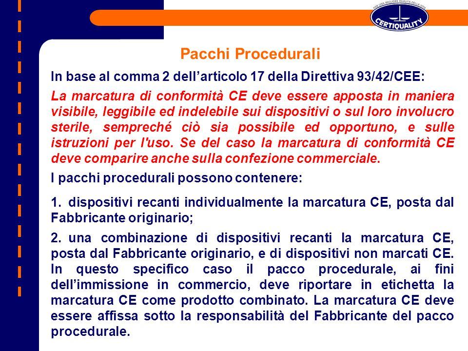Pacchi Procedurali In base al comma 2 dell'articolo 17 della Direttiva 93/42/CEE:
