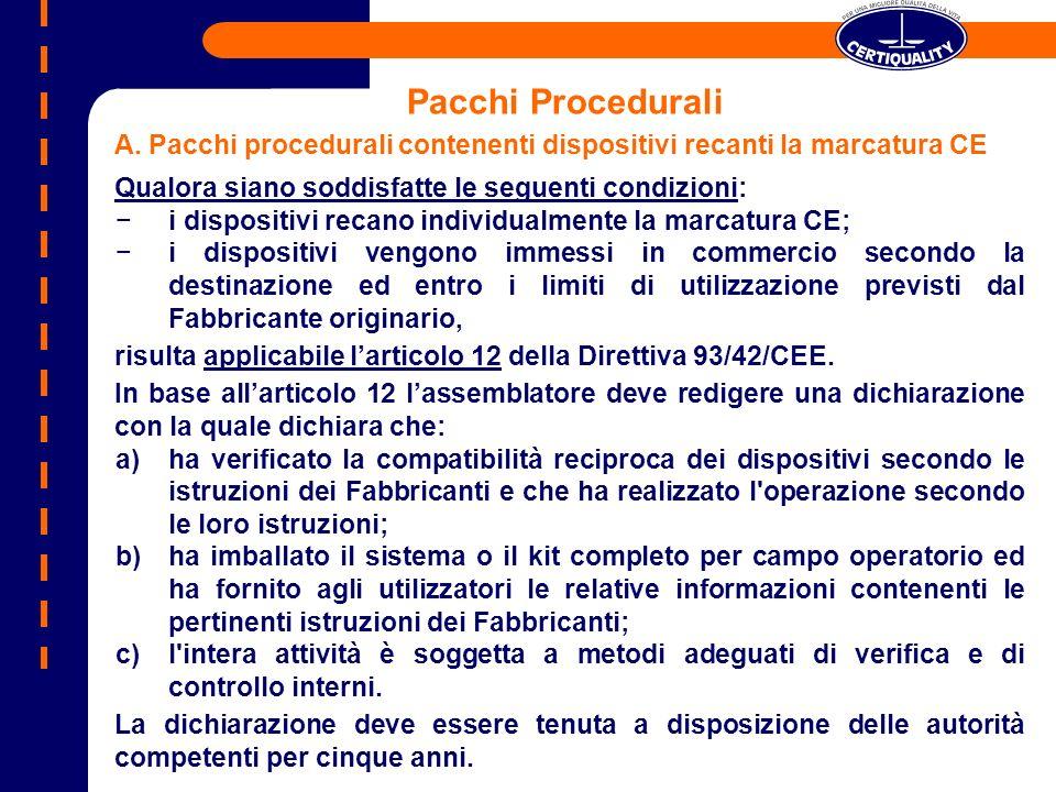Pacchi Procedurali A. Pacchi procedurali contenenti dispositivi recanti la marcatura CE. Qualora siano soddisfatte le seguenti condizioni: