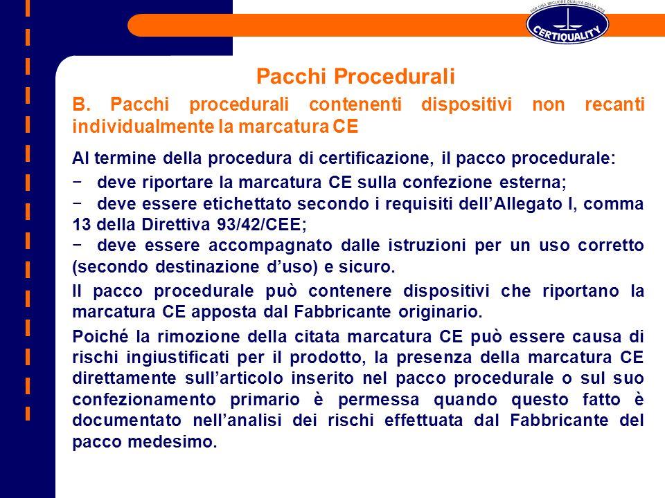 Pacchi Procedurali B. Pacchi procedurali contenenti dispositivi non recanti individualmente la marcatura CE.
