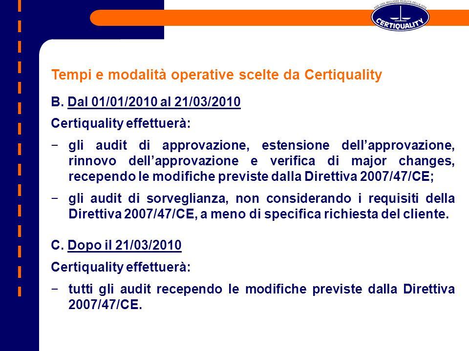 Tempi e modalità operative scelte da Certiquality