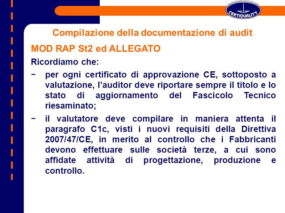Compilazione della documentazione di audit