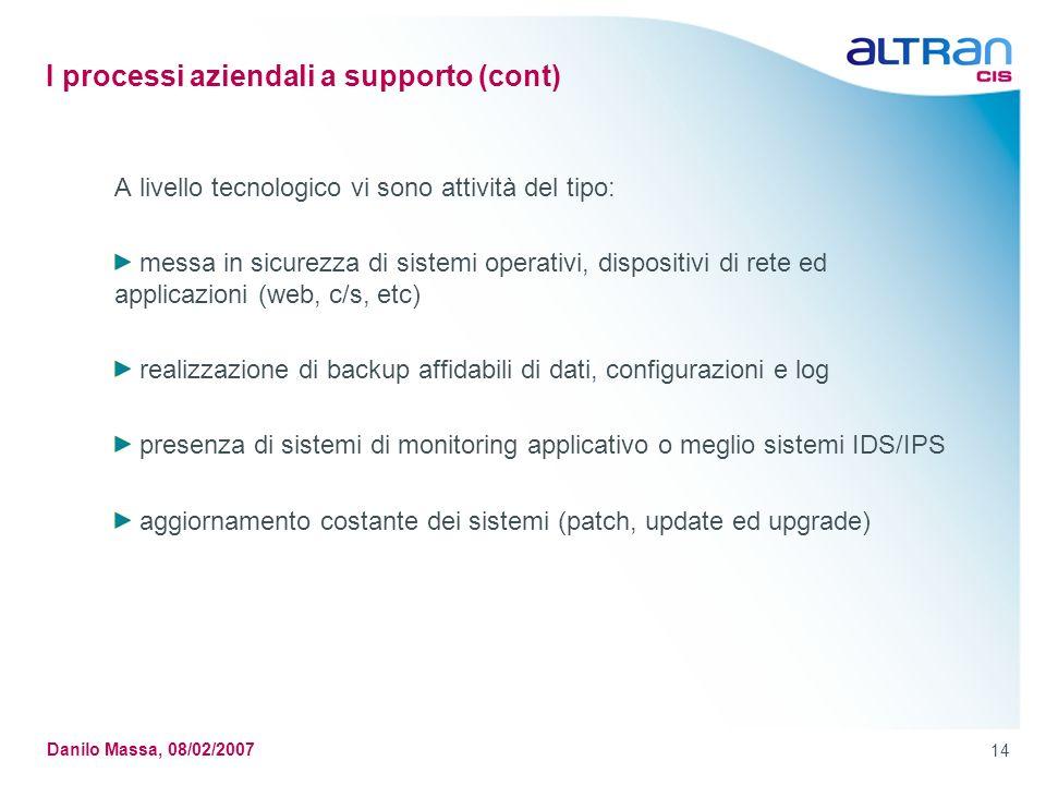 I processi aziendali a supporto (cont)