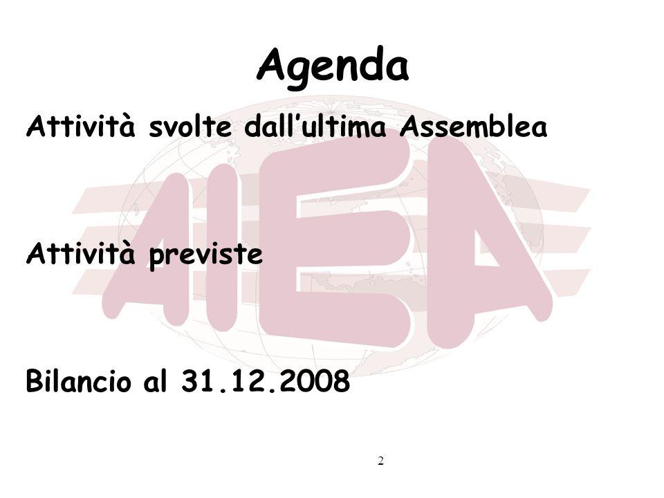 Agenda Attività svolte dall'ultima Assemblea Attività previste