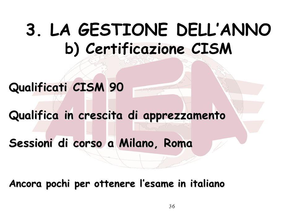 3. LA GESTIONE DELL'ANNO b) Certificazione CISM