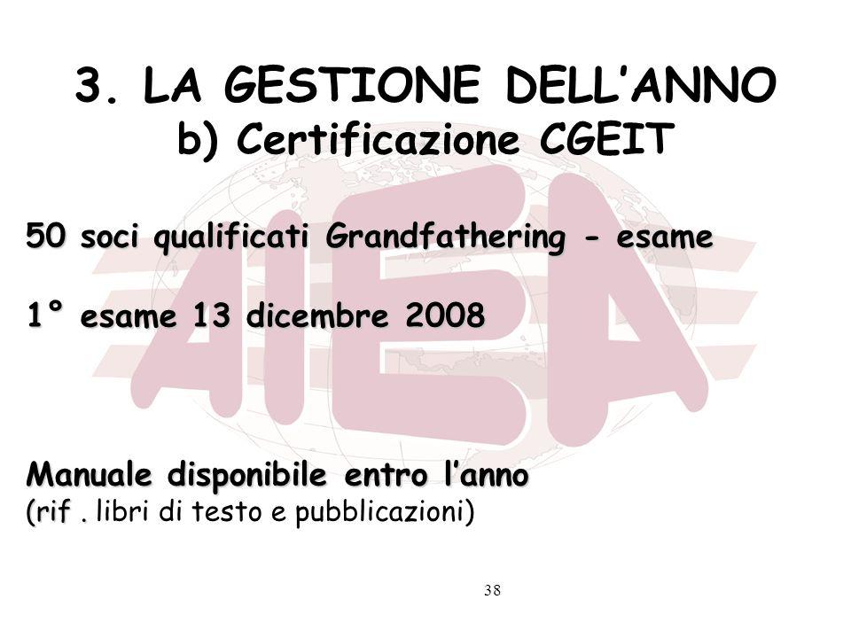 3. LA GESTIONE DELL'ANNO b) Certificazione CGEIT
