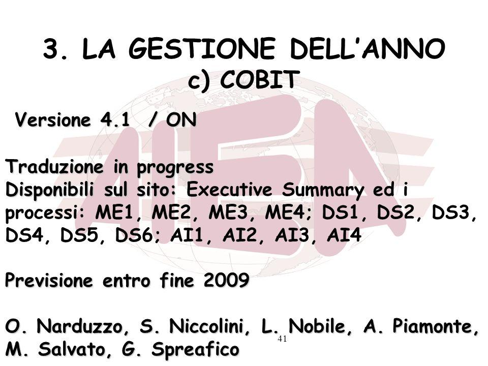 3. LA GESTIONE DELL'ANNO c) COBIT