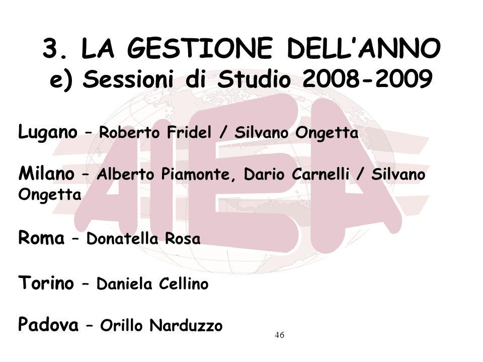 3. LA GESTIONE DELL'ANNO e) Sessioni di Studio 2008-2009