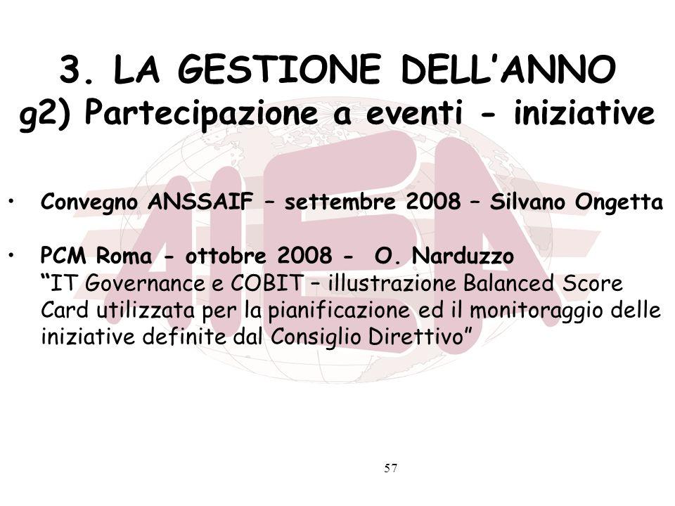 3. LA GESTIONE DELL'ANNO g2) Partecipazione a eventi - iniziative