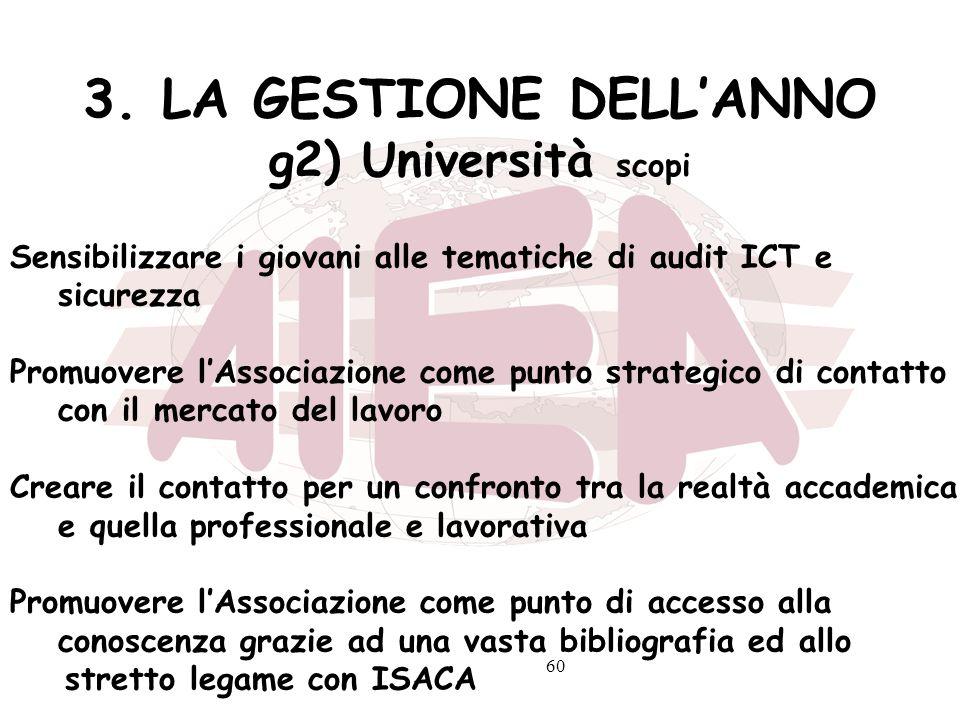3. LA GESTIONE DELL'ANNO g2) Università scopi
