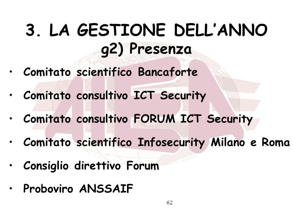 3. LA GESTIONE DELL'ANNO g2) Presenza