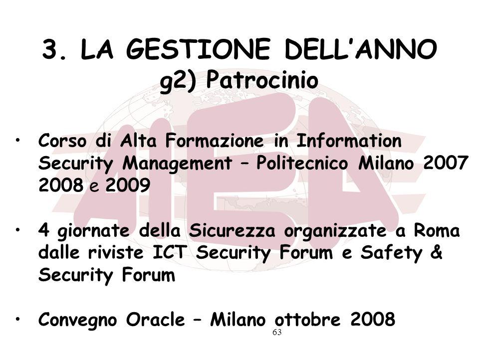 3. LA GESTIONE DELL'ANNO g2) Patrocinio