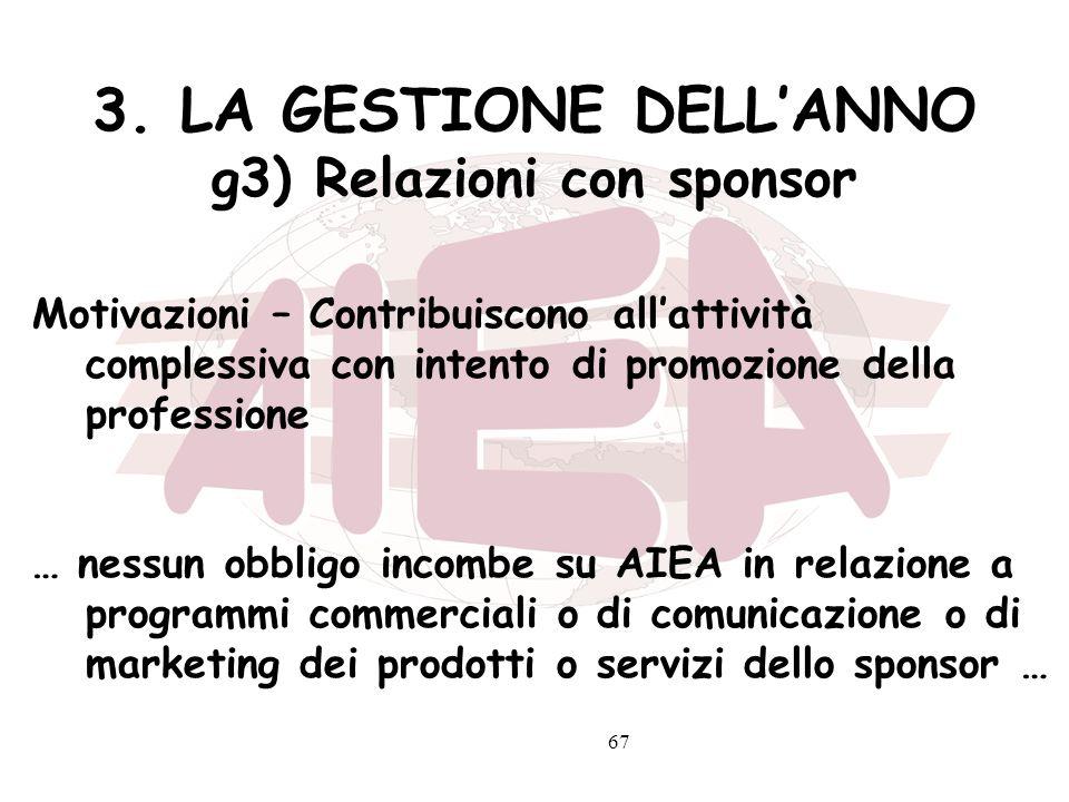 3. LA GESTIONE DELL'ANNO g3) Relazioni con sponsor