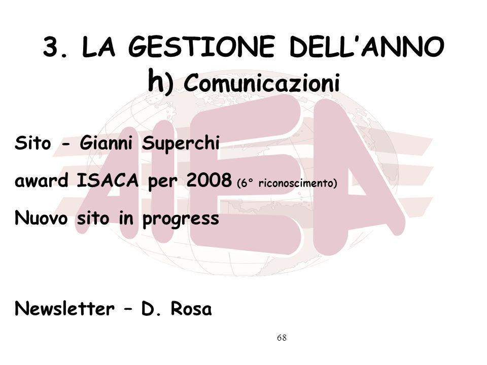 3. LA GESTIONE DELL'ANNO h) Comunicazioni