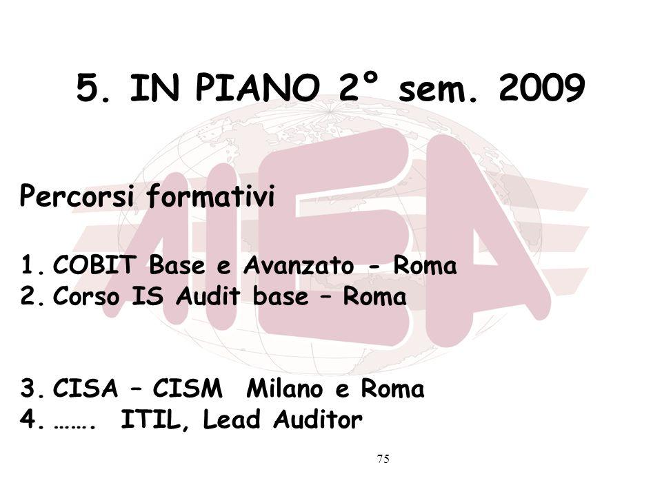 5. IN PIANO 2° sem. 2009 Percorsi formativi