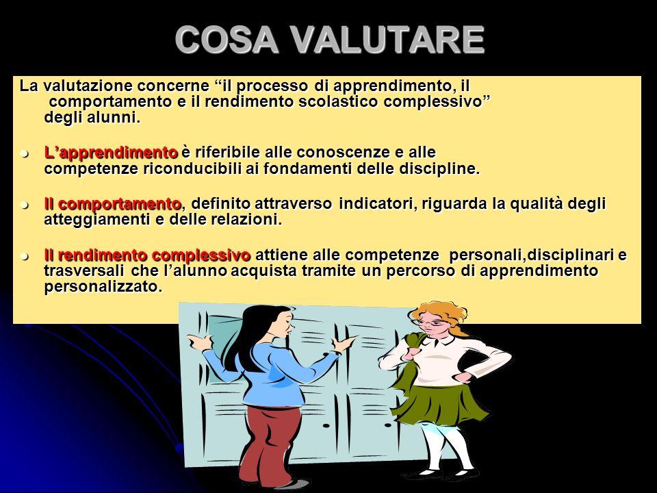 COSA VALUTARE La valutazione concerne il processo di apprendimento, il comportamento e il rendimento scolastico complessivo degli alunni.