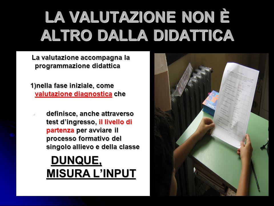 LA VALUTAZIONE NON È ALTRO DALLA DIDATTICA