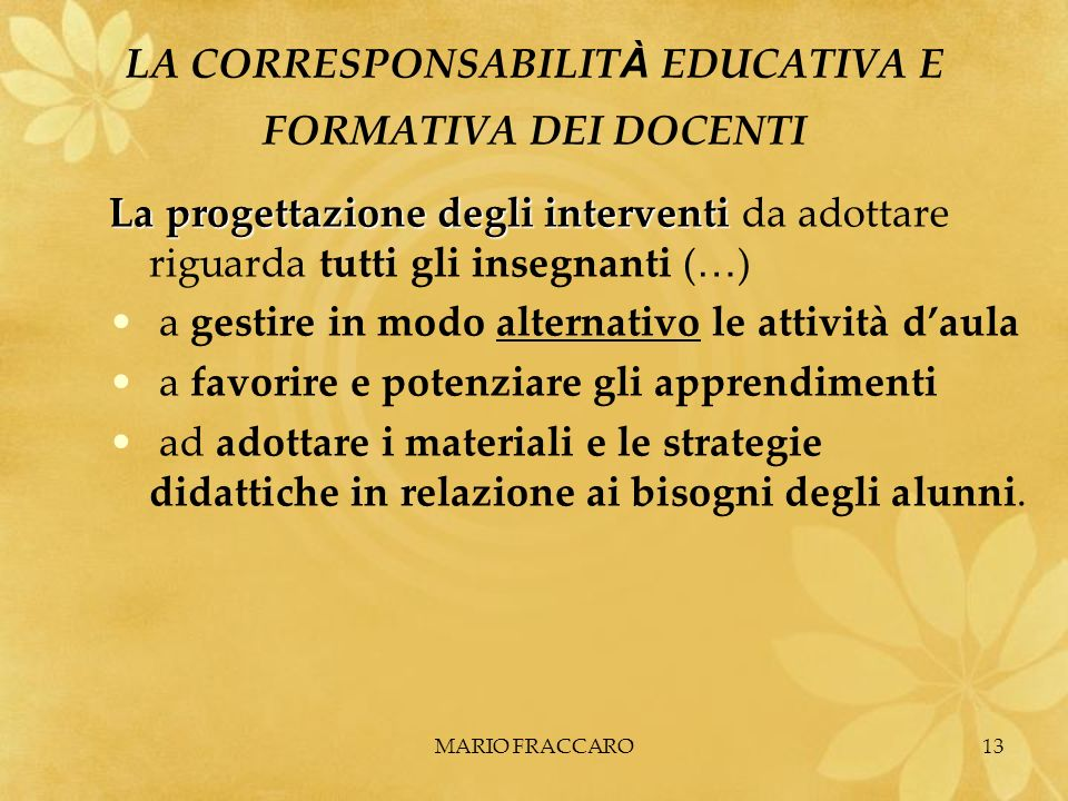 LA CORRESPONSABILITÀ EDUCATIVA E FORMATIVA DEI DOCENTI