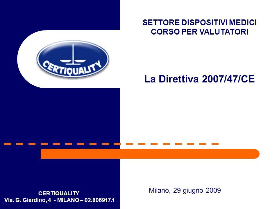 SETTORE DISPOSITIVI MEDICI Via. G. Giardino, 4 - MILANO – 02.806917.1
