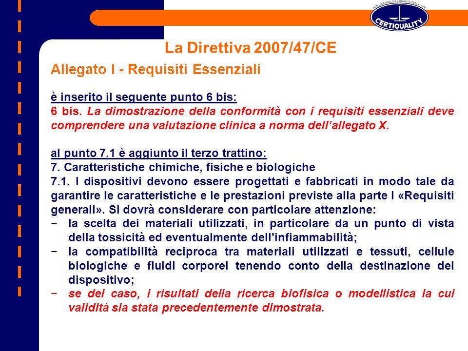 La Direttiva 2007/47/CE Allegato I - Requisiti Essenziali
