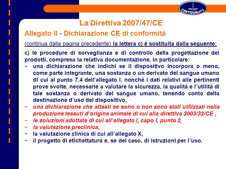 La Direttiva 2007/47/CE Allegato II - Dichiarazione CE di conformità