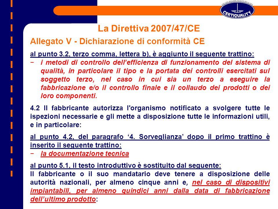 La Direttiva 2007/47/CE Allegato V - Dichiarazione di conformità CE