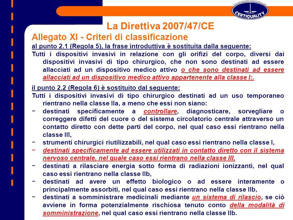 La Direttiva 2007/47/CE Allegato XI - Criteri di classificazione