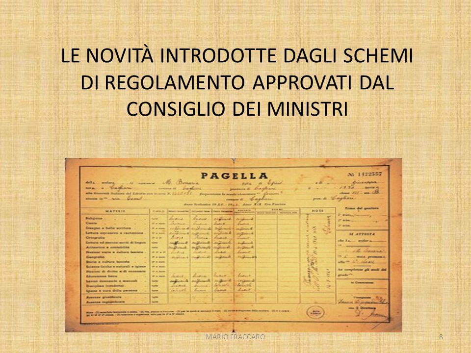 LE NOVITÀ INTRODOTTE DAGLI SCHEMI DI REGOLAMENTO APPROVATI DAL CONSIGLIO DEI MINISTRI