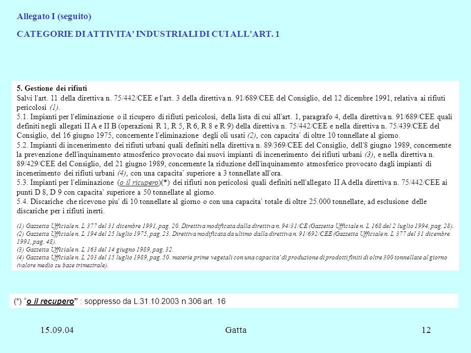 CATEGORIE DI ATTIVITA INDUSTRIALI DI CUI ALL ART. 1