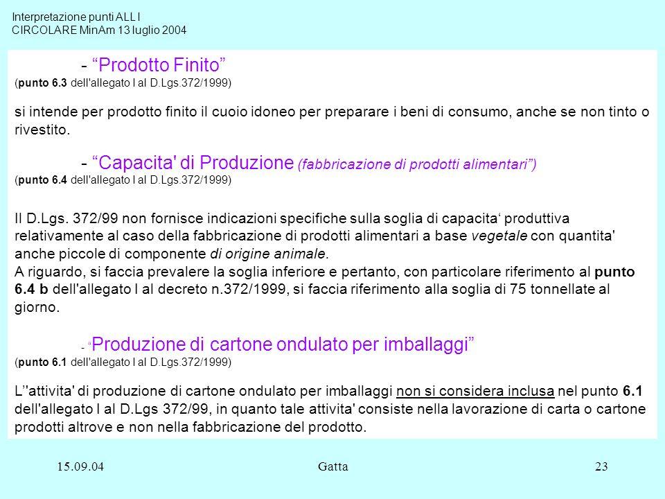 - Prodotto Finito (punto 6.3 dell allegato I al D.Lgs.372/1999)