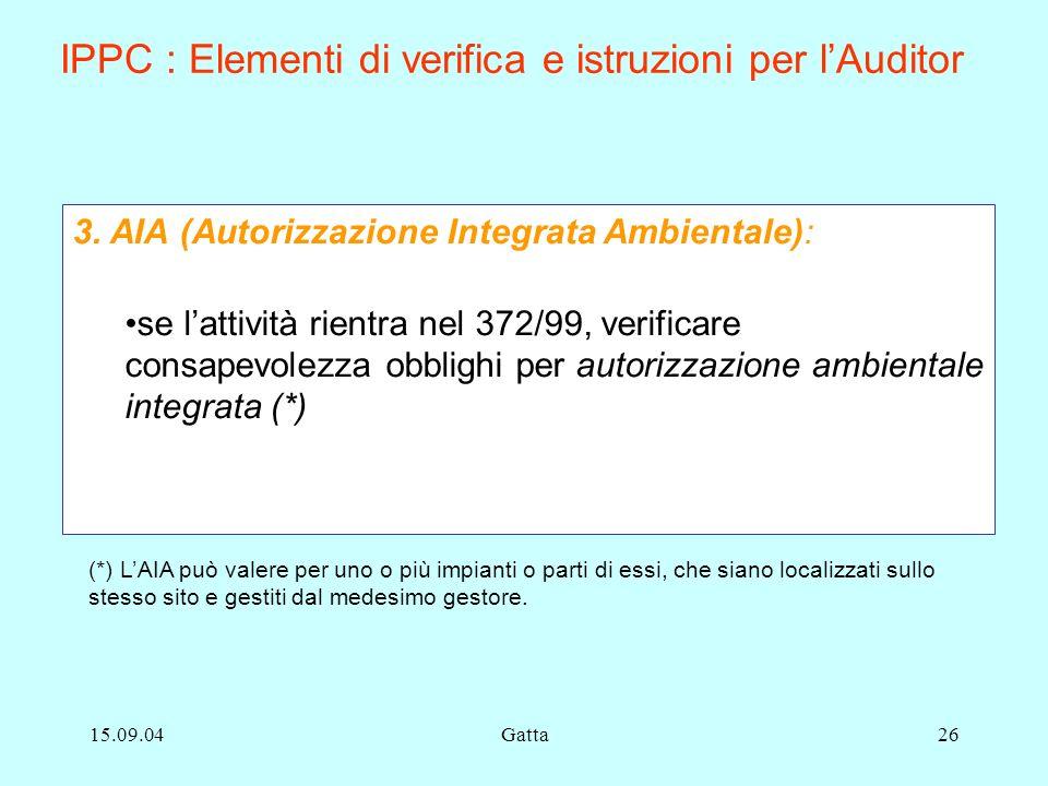 IPPC : Elementi di verifica e istruzioni per l'Auditor