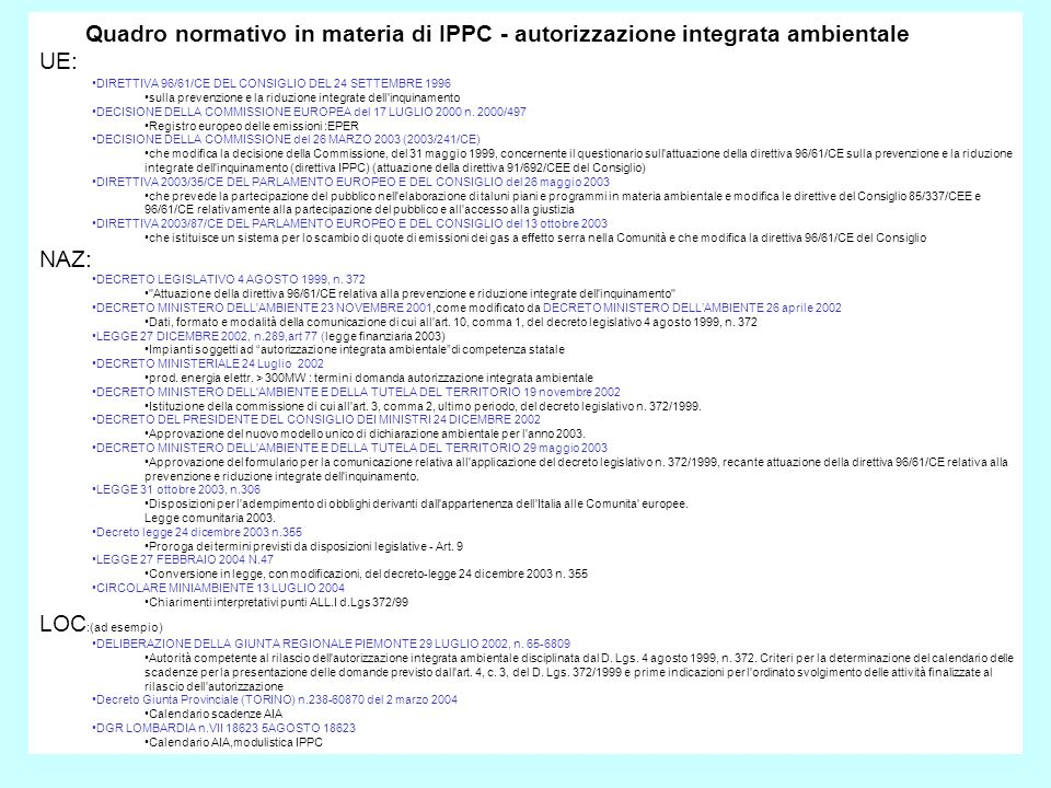 Quadro normativo in materia di IPPC - autorizzazione integrata ambientale