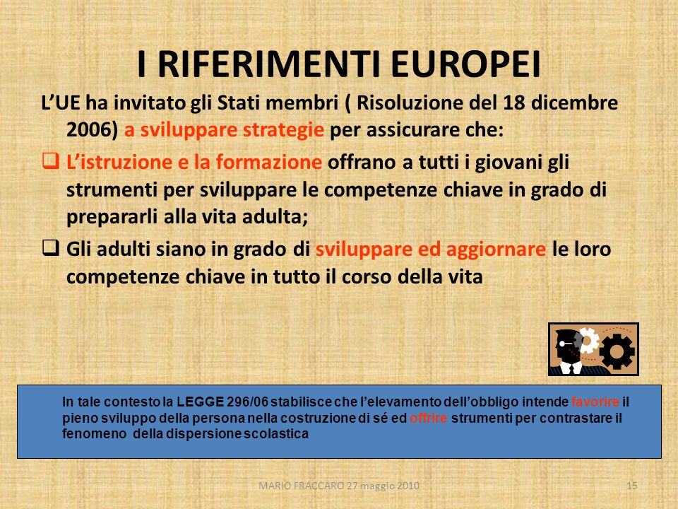 I RIFERIMENTI EUROPEI L'UE ha invitato gli Stati membri ( Risoluzione del 18 dicembre 2006) a sviluppare strategie per assicurare che: